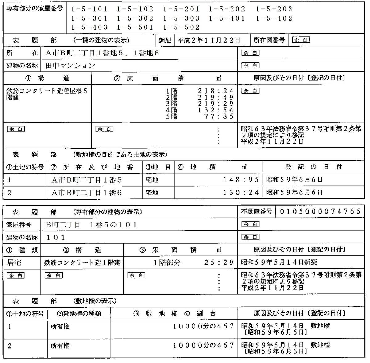 区分建物の謄本の見方 , 土地家屋調査士田中良知事務所